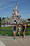 The girls and I in front of the iconic Sleeping Beauty Castle
