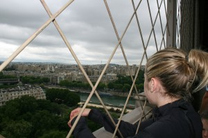 Sydney on the first level of the Eiffel Tower