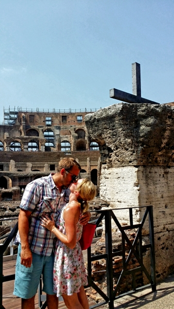 The Cross as you enter the Roman Colosseum