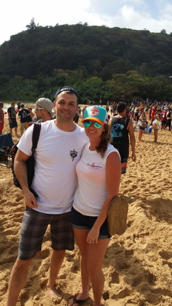 Mr B and I at The Eddie, Oahu, Hawaii